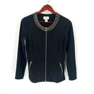 Neiman Marcus Black Rhinestone Collar Jacket